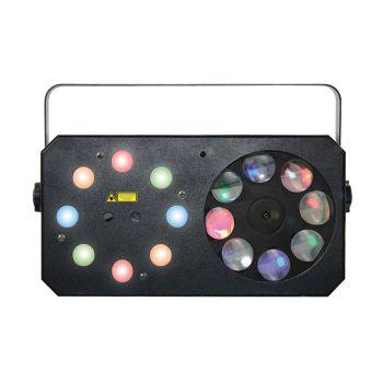 Jeux de lumières 3-en-1 : Wash, Gobos Moonflower, Laser multipoints