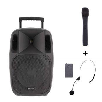 Sono portable 12'' sur batterie + 1 micro main VHF + 1 micro serre-tête