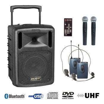 Sono portable CD MP3+USB+DIVX+2 micros main UHF+BODY PACK+bluetooth