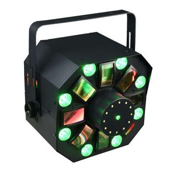 Jeux de lumière 4-en-1 : Multi-faisceaux,Wash, Strobe, Laser multipoints Rouge et Vert