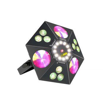 Jeux de lumiere 4-en-1 : Wash, Flower, Strobe, Laser 2-en-1