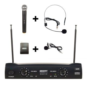 Double hand microphone + headband + UHF tie - Freq. 641.25-648.55 MHz