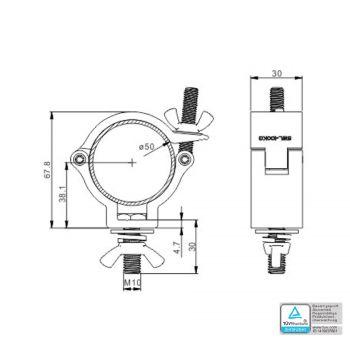 Demi-coupleur argent charge max.75kg (diamètre 32-35mm)